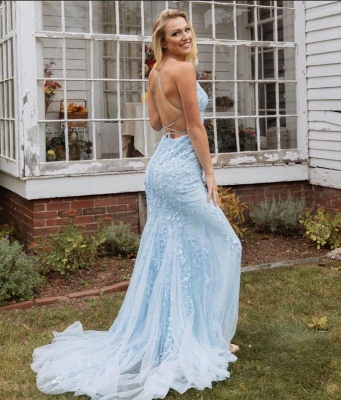 Simple evening dresses long blue | Prom dresses with lace_2