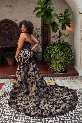 Wedding dresses mermaid lace | Black wedding dresses cheap_2