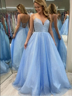 Evening dress light blue | Long glitter prom dresses