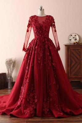 Elegante Abendkleider Mit Spitze Ärmel | Abiballkleider Lang Rot