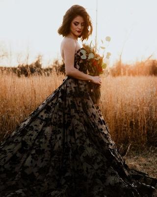 Elegante Brautkleider A Linie Spitze | Schwarze Hochzeitskleider Günstig_3