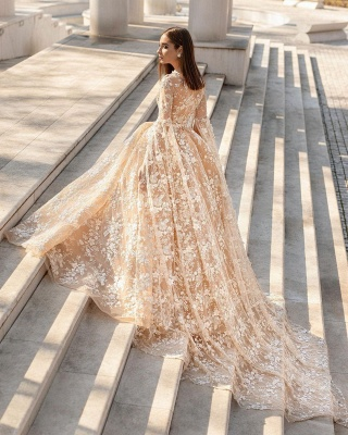 Beautiful wedding dresses princess | Lace wedding dresses with sleeves_2