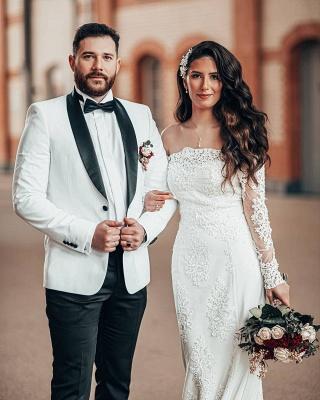Schlichtes Brautkleid Mit Ärmel | Spitze Hochzeitskleider Meerjungfrau_4