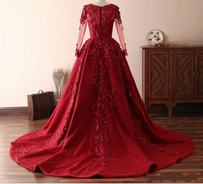 Elegant evening dresses with lace sleeves | Prom dresses long red_2