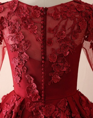 Elegant evening dresses with lace sleeves | Prom dresses long red_3