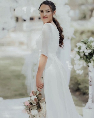 Simple wedding dress A line | Wedding dresses with sleeves_4
