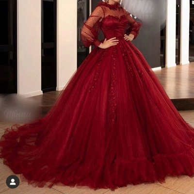 Red prom dresses long prom dresses | Evening dresses with sleeves_2