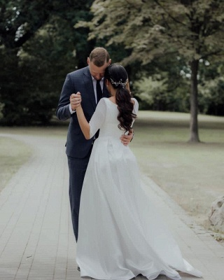 Simple wedding dress A line | Wedding dresses with sleeves_5