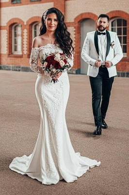 Simple wedding dress with sleeves | Lace wedding dresses mermaid
