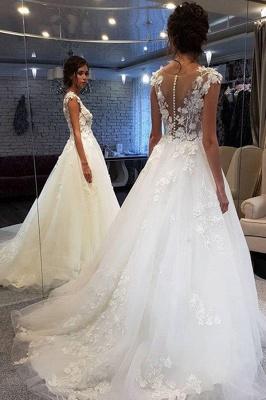 Schöne Brautkleider A Linie | Tüll Hochzeitskleider mit Spitze_2