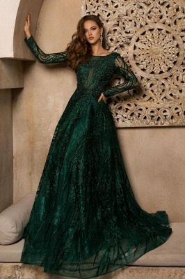 Elegant evening dresses long green | Prom dresses glitter with sleeves_1