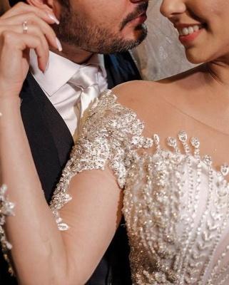 Luxus Brautkleider mit Ärmel | Hochzeitskleider A Linie Spitze_8
