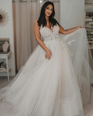 Elegante Brautkleider Tüll | Hochzeitskleider A Linie Spitze_2