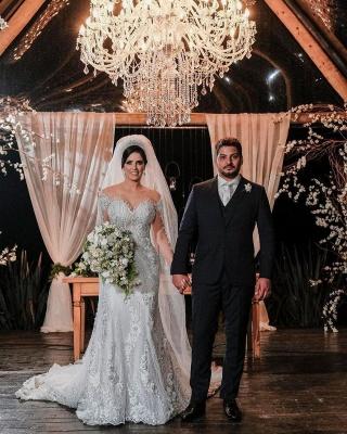 Luxus Brautkleider mit Ärmel | Hochzeitskleider A Linie Spitze_5