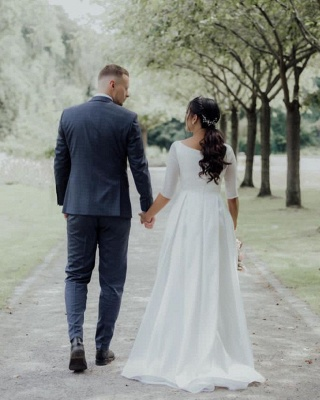 Simple wedding dress A line | Wedding dresses with sleeves_2