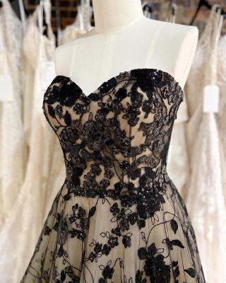 Wedding dresses mermaid lace | Black wedding dresses cheap_3