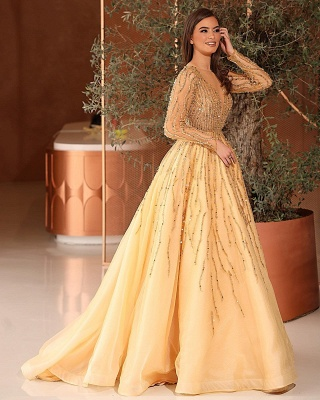 Extravagant evening dresses with sleeves | Prom dresses long glitter cheap_2