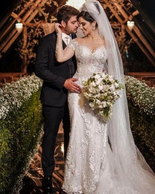 Luxus Brautkleider mit Ärmel | Hochzeitskleider A Linie Spitze_4