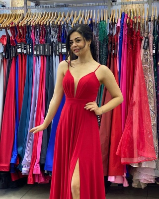Simple evening dress long cheap | Red prom dresses_4