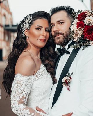 Schlichtes Brautkleid Mit Ärmel | Spitze Hochzeitskleider Meerjungfrau_2