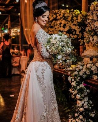 Luxus Brautkleider mit Ärmel | Hochzeitskleider A Linie Spitze_2