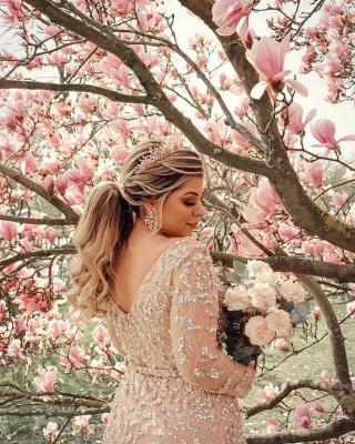 Champagne Brautkleider Meerjungfrau | Hochzeitskleider mit Ärmel_4
