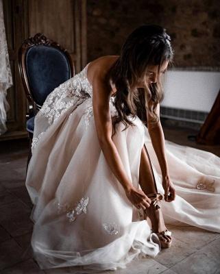 Elegante Hochzeitskleider Boho | Brautkleider A Linie Spitze_6
