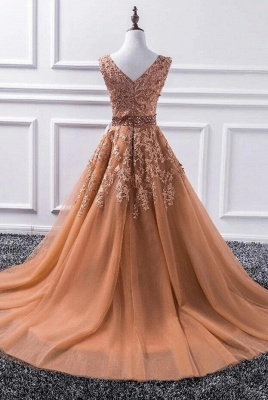 Elegant Evening Dress Long V Neck | Ball gowns with lace_2