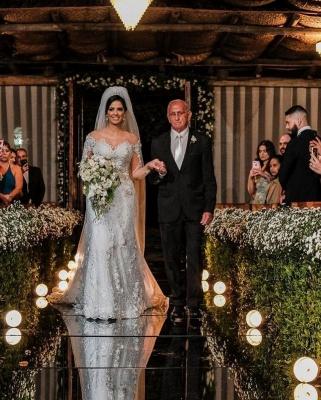 Luxus Brautkleider mit Ärmel | Hochzeitskleider A Linie Spitze_6
