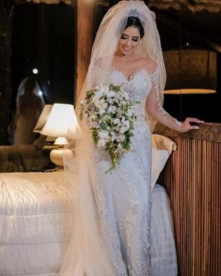 Luxus Brautkleider mit Ärmel | Hochzeitskleider A Linie Spitze_3