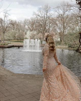 Champagne Brautkleider Meerjungfrau | Hochzeitskleider mit Ärmel_3