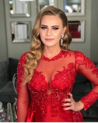 Prom dresses long red | Evening dresses with sleeves_3