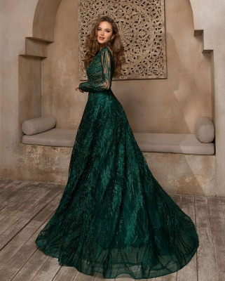 Elegant evening dresses long green | Prom dresses glitter with sleeves_2