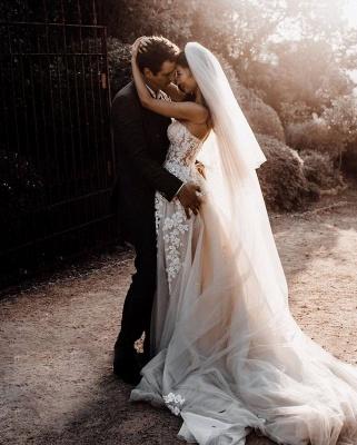 Elegante Hochzeitskleider Boho | Brautkleider A Linie Spitze_4