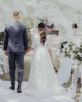 Simple wedding dress A line | Wedding dresses with sleeves_3