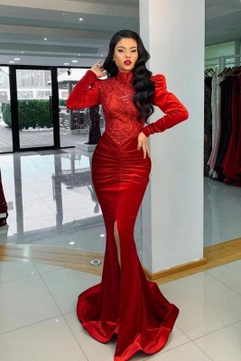 Velvet Evening Dresses Long With Sleeves | Ball gowns red