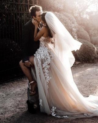 Elegante Hochzeitskleider Boho | Brautkleider A Linie Spitze_3