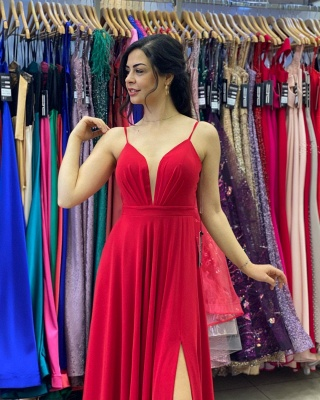 Simple evening dress long cheap | Red prom dresses_3