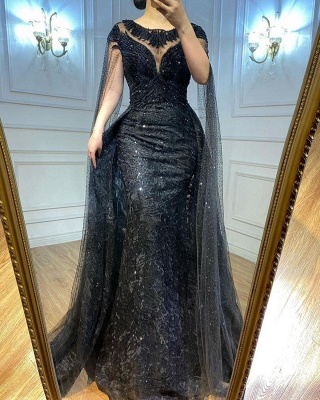 Elegante Abendkleider Lang Schwarz   Abiballkleider mit Glitzer_2