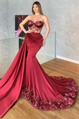 Prom dresses long red | Evening dresses with lace cheap_1