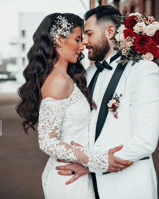 Schlichtes Brautkleid Mit Ärmel | Spitze Hochzeitskleider Meerjungfrau_3