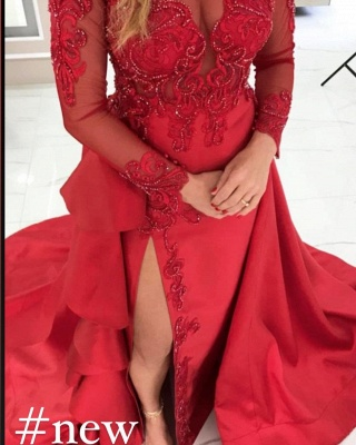 Prom dresses long red | Evening dresses with sleeves_2
