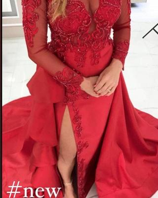 Abiballkleider Lang Rot | Abendkleider mit Ärmel_2