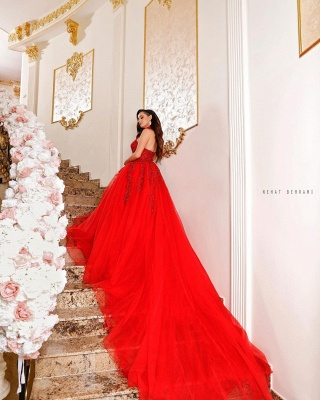 Ball gowns red | Evening dresses long lace_2