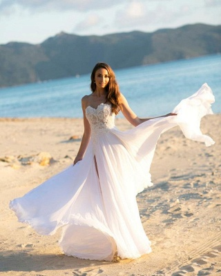 Simple wedding dress with lace | Chiffon wedding dresses_2