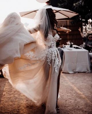 Elegante Hochzeitskleider Boho | Brautkleider A Linie Spitze_5