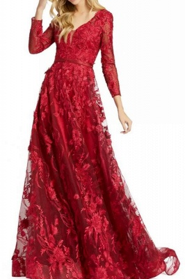 Designer Evening Dresses Long Red | Prom dresses with sleeves