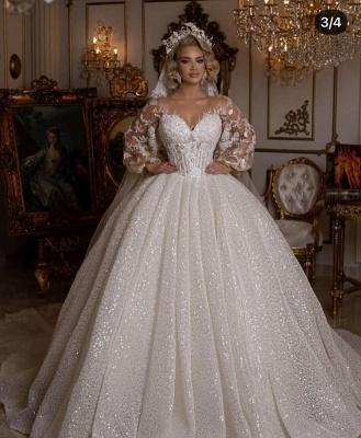 Luxus Hochzeitskleider mit Ärmel | Brautkleider Prinzessin Glitzer_5