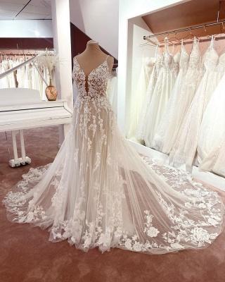 Wunderschöne Brautkleider A Linie Spitze | Hochzeitskleider Günstig Online_2