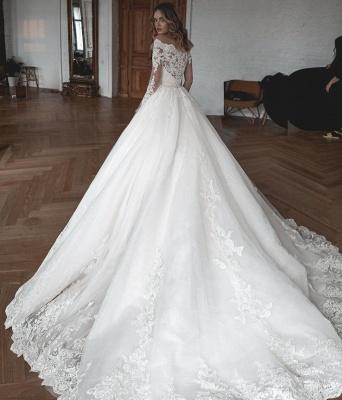Designer Brautkleider Mit Ärmel | Hochzeitskleider A Linie Spitze_4